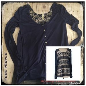 free people NAVY Button up top/cardigan